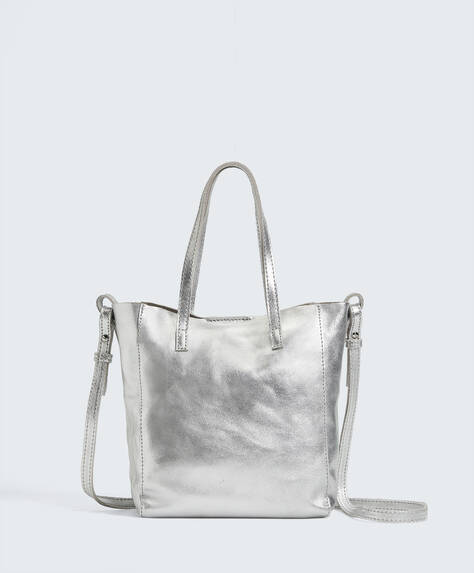 Mini sac shopper en cuir métallisé