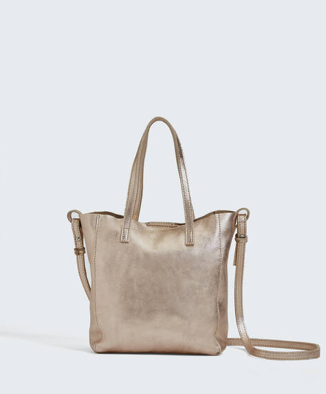 Shopper mini in pelle metallizzata