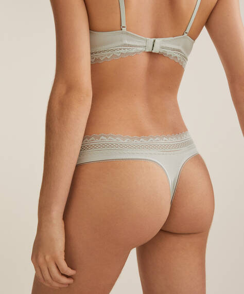 Wide-strapped modal and lace thong