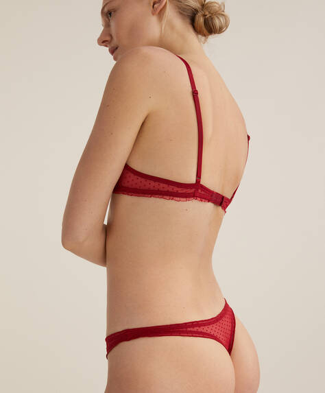 Flocked ditsy dot thong