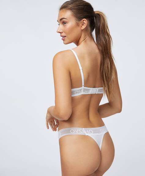 Wide-strapped modal thong with logo