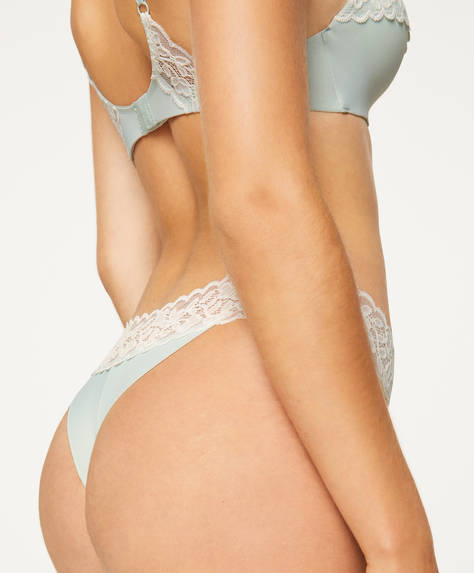 V-cut thong with leaf lace