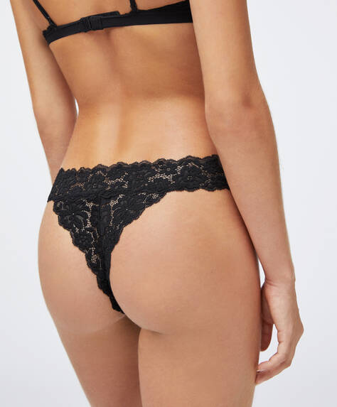 Colourful lace V-cut thong