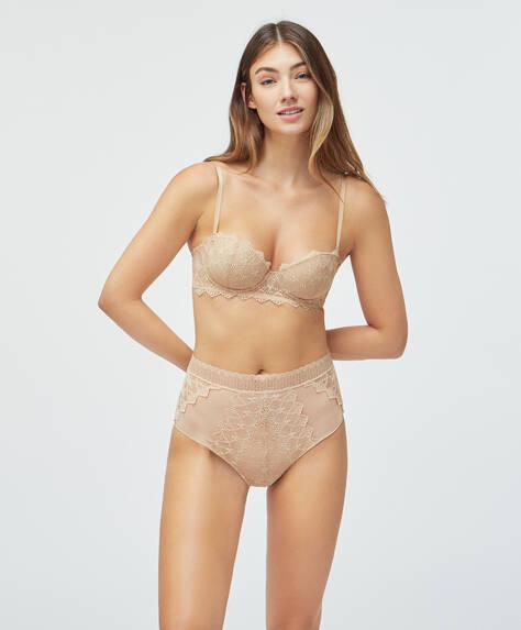 Culotte haute en dentelle géométrique