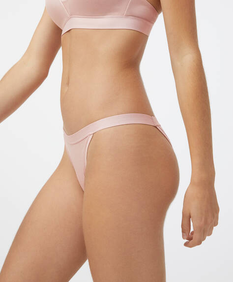 Cotton strappy elasticated band Brazilian briefs