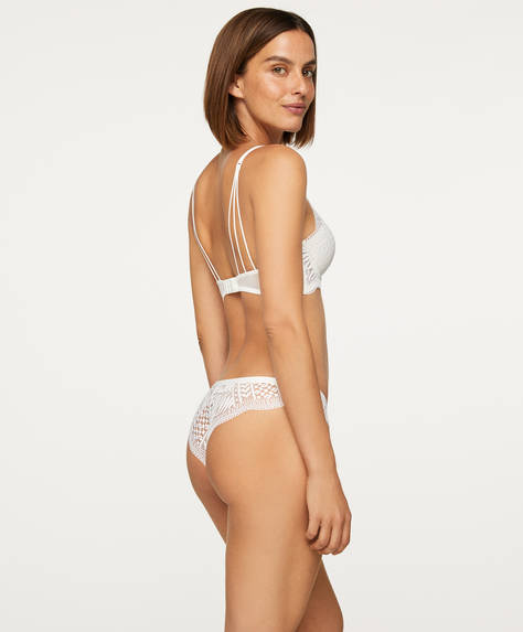 Lace leaf Brazilian briefs