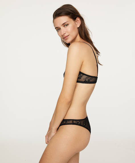 V-cut lace Brazilian briefs with logo