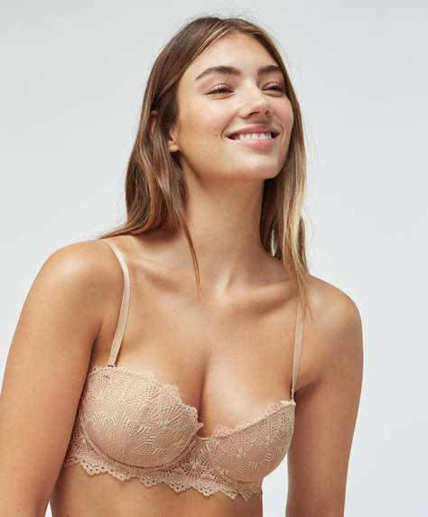 Geometric lace strapless bra