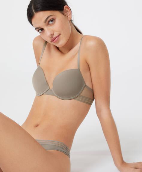 Lightly-padded microfibre bra