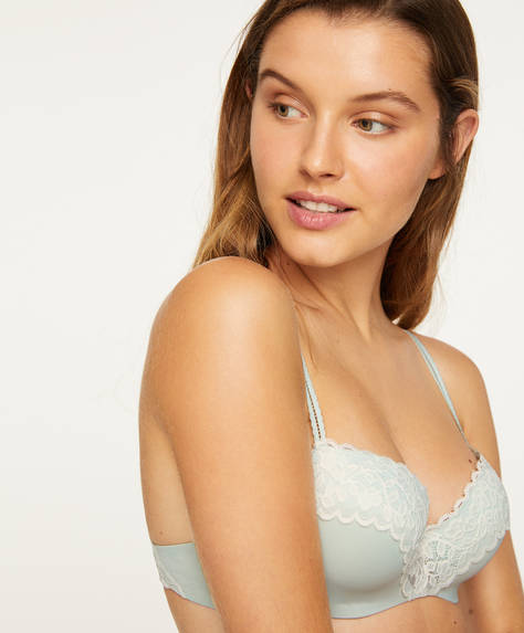 Lightly-padded leaf lace bra
