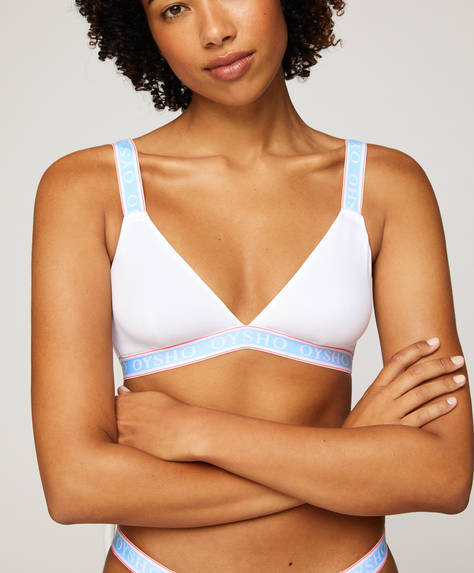 Logo cotton triangle bra