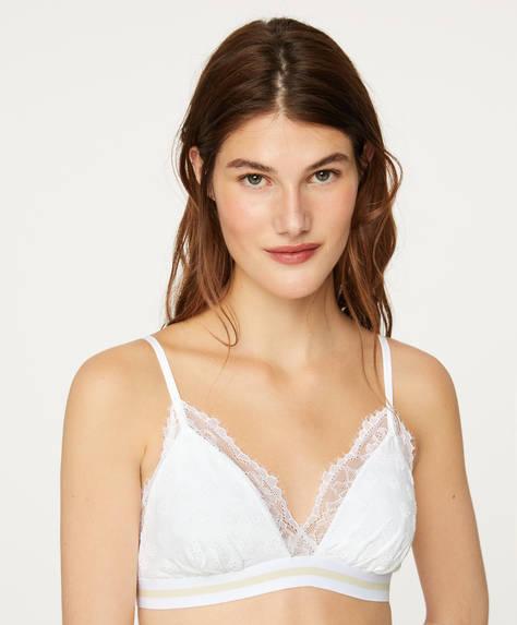 Elasticated lace triangle bra
