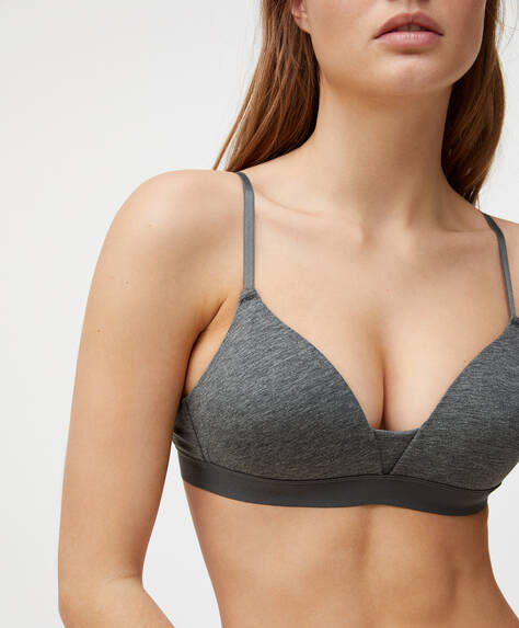 Cotton elasticated band triangle bra