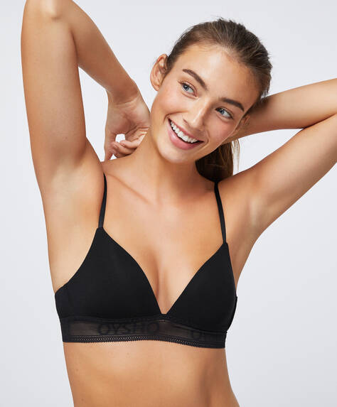 Modal triangle bra with logo