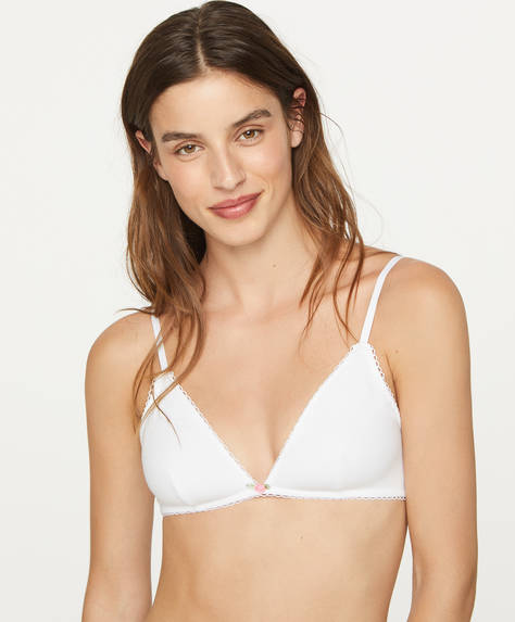 Floral cotton non-wired bra