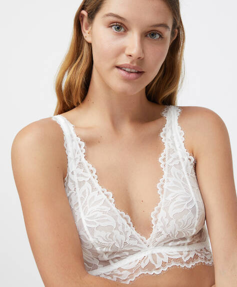 Non-padded floral lace triangle bra