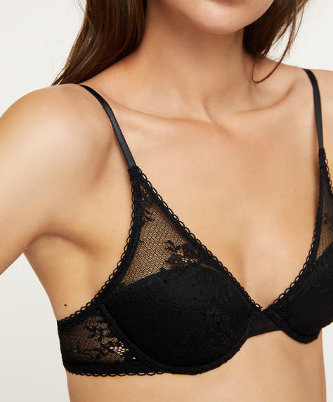 Lightly padded lace bra with logo