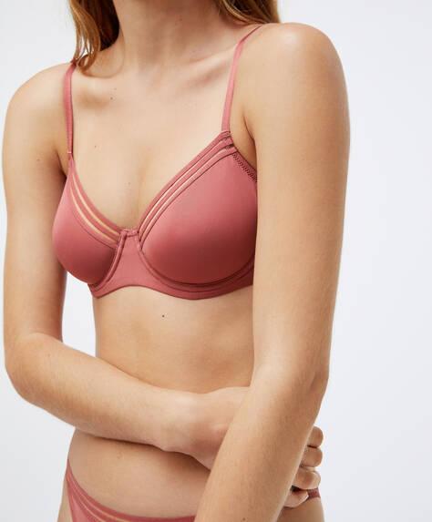 Microfibre non-padded bra