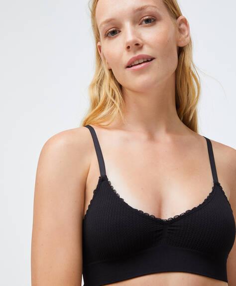 Seamless loop triangle bra