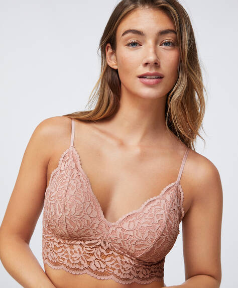 Lace bralette with removable cups