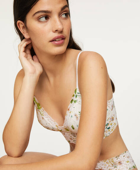 Floral print bralette with removable cups