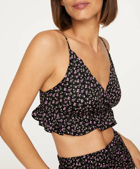 Strappy violet flower top