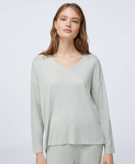 Soft feel green dot T-shirt
