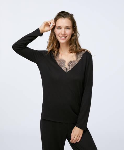 Camiseta larga blonda negra