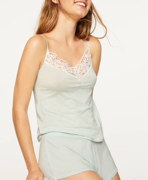 Leaf lace slip top