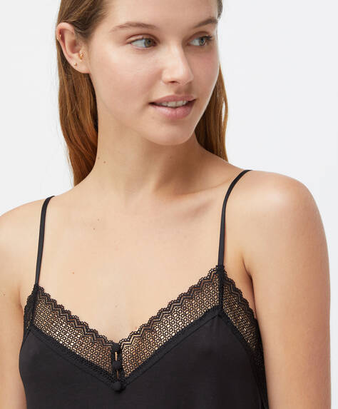 Geometric lace slip top