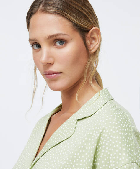 Green polka dot shirt