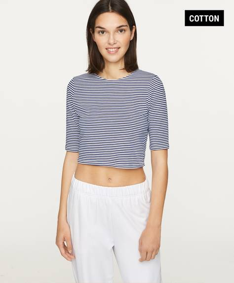 Stripe cropped cotton T-shirt