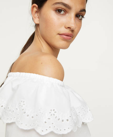 Off-the-shoulder broderie anglaise top