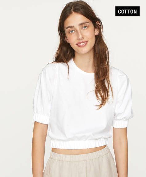 Cropped elasticated cotton T-shirt