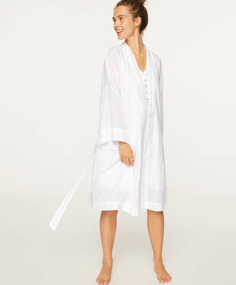 White cotton plumeti dressing gown