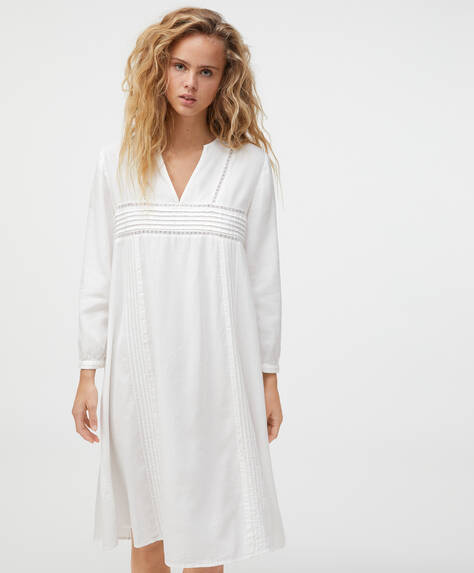 White embroidered 100% cotton nightdress