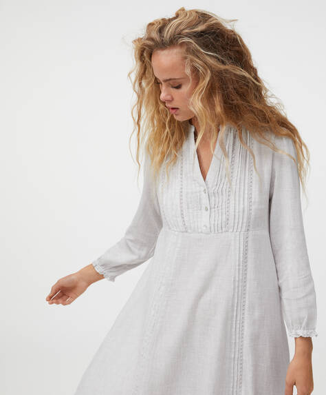 Grey embroidered 100% cotton nightdress