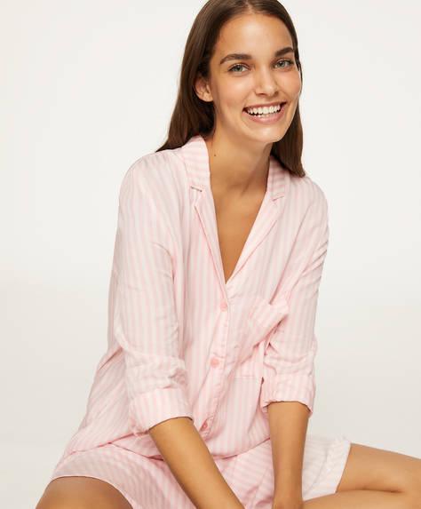 Chemise de nuit rose à rayures