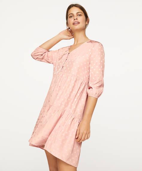 Chemise de nuit en jacquard à pois roses