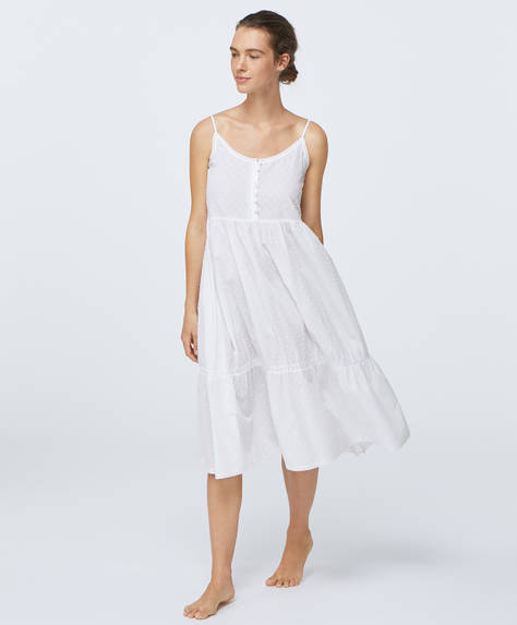 Long white plumeti nightdress