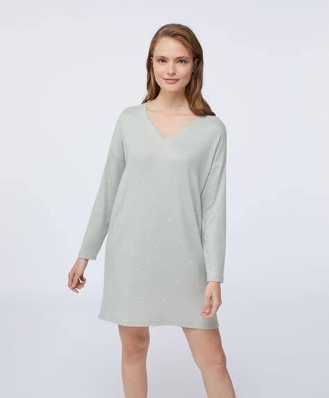 Dotty green soft touch nightdress