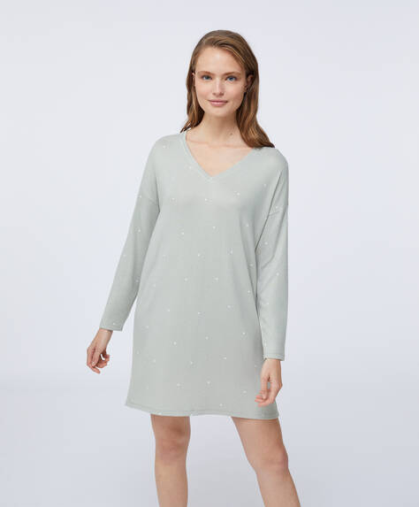 Dotty green soft touch nightdress