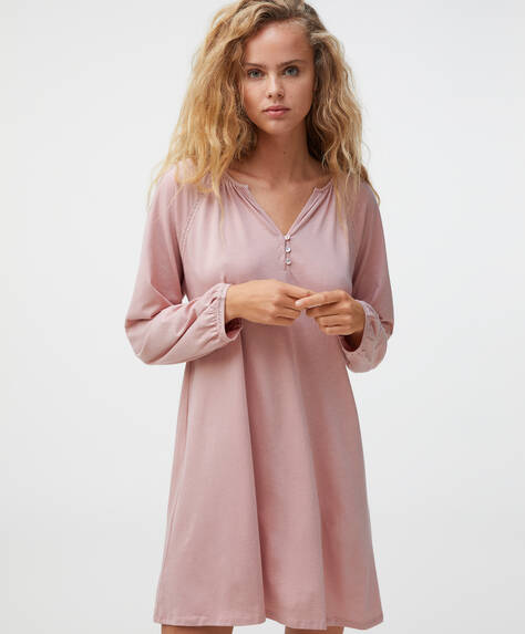 Long cotton and modal nightdress