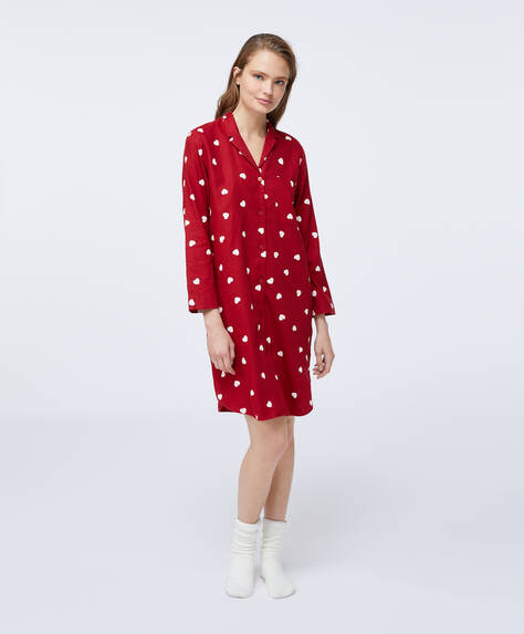 Long red cotton nightdress with hearts