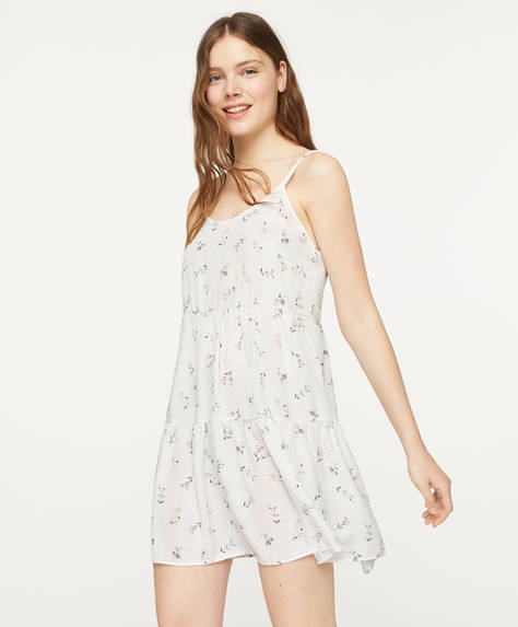 Black and white ditsy floral nightdress