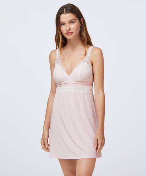 Chemise de nuit style lingerie en modal