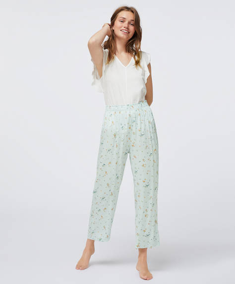 Aqua green floral trousers