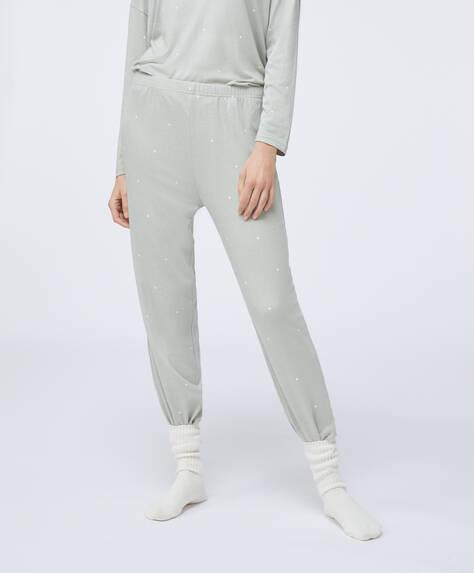 Green soft feel dot trousers