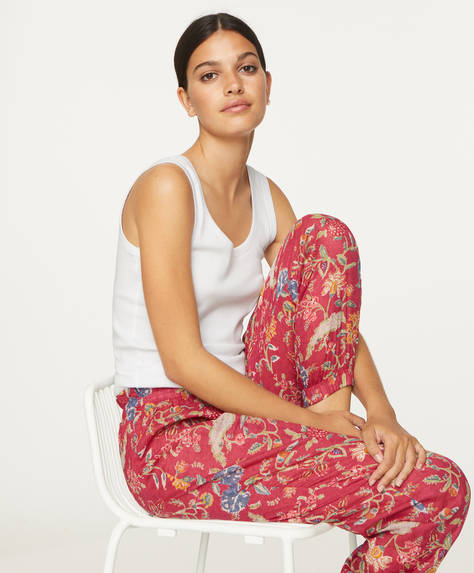 Coral Indian floral cotton trousers