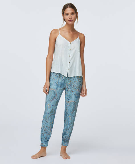 Paisley print turquoise trousers